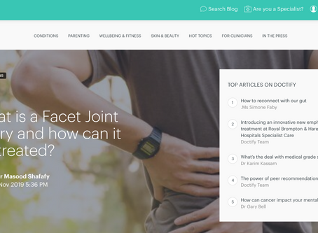 Mr Masood Shafafy from Spine Solutions talks about Facet Joint Injury on the Doctify blog.