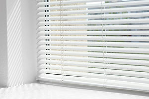 Window with open modern horizontal blind