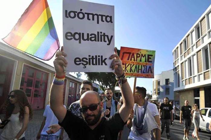 Cyprus Pride parade in three languages