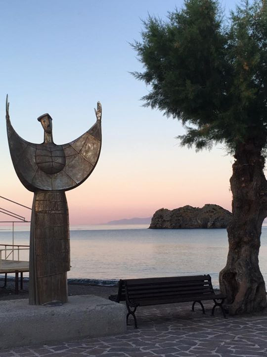 Sappho at home in Lesbos.