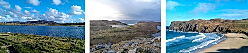 Left to right: Shawbost Loch; Dalbeag (photo by Murdo MacLeod); Dalmore Beach.