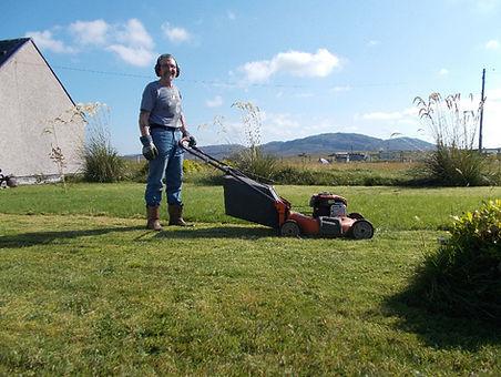Our handyman Don grass cutting