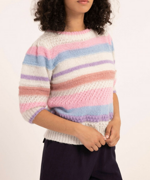 Colors striped 3/4 Sleeve Sweater
