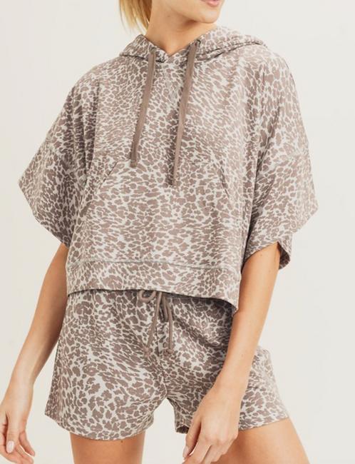 Leopard Print Hoodie Top