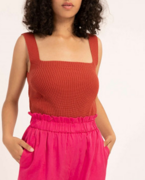 Knit Tank Top with Square Neckline (2Colors)