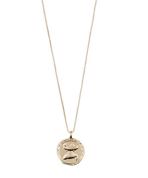 Pilgrim Necklace : Pisces Zodiac Sign : Gold Plated : Crystal