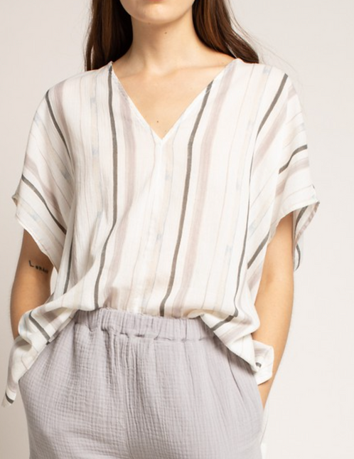 Stripped Shot Sleeve Top