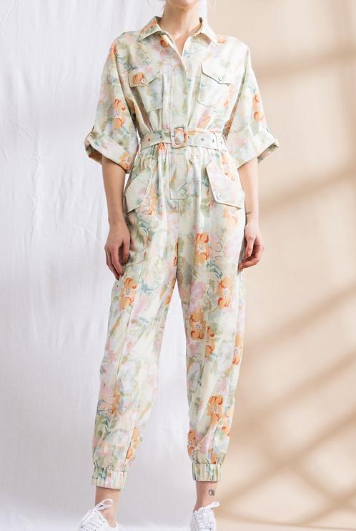 Floral Half Sleeve Jumpsuit