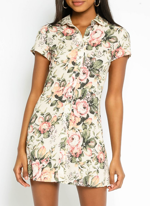 Floral Collared Shirt Dress