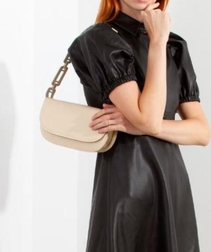 Scalloped Strap Shoulder Bag - Bone