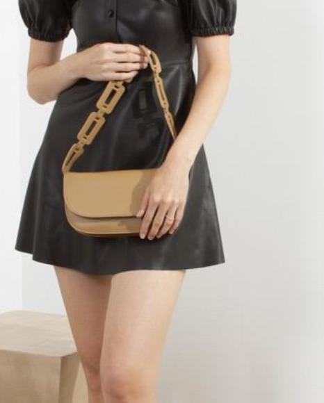 Scalloped Strap Shoulder Bag - Tan