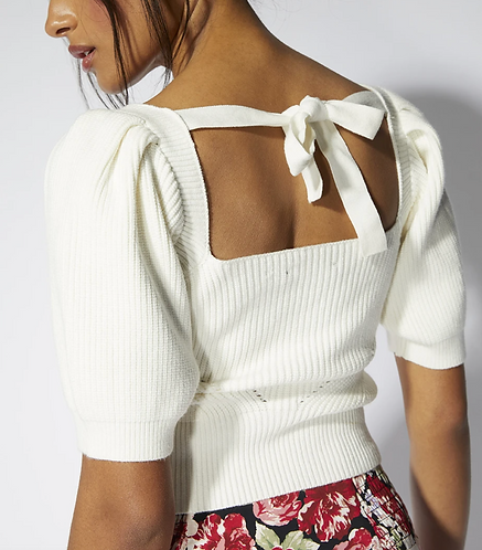 Open Back Knit Top - Off White