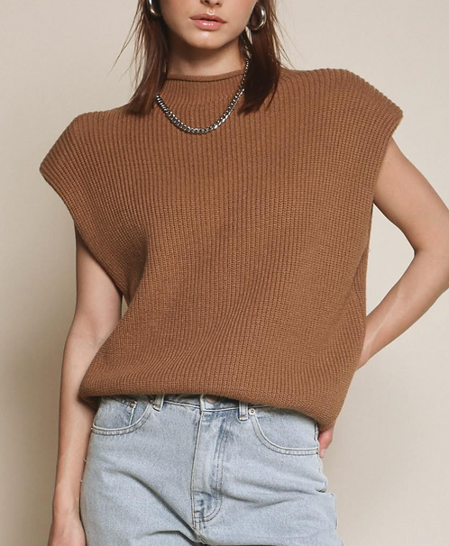 Sweater Vest with Shoulder Pads - Brown