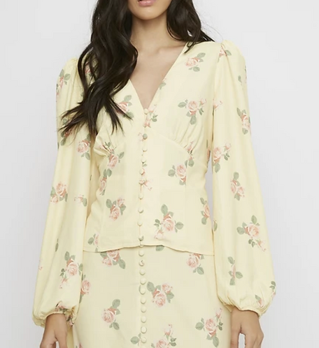 Button Front Rose Shirt