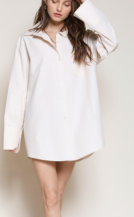 Oversized Shirt Dress (2Colors)