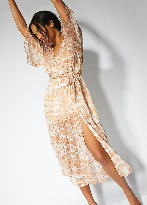 Deep V-neck Boho Midi Dress
