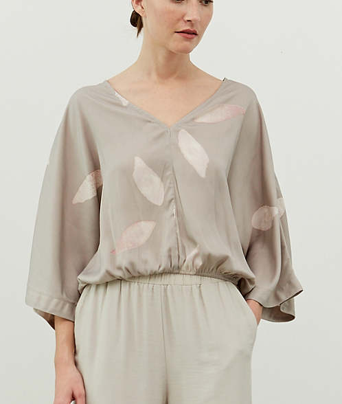 Wide Sleeve Satin Blouse