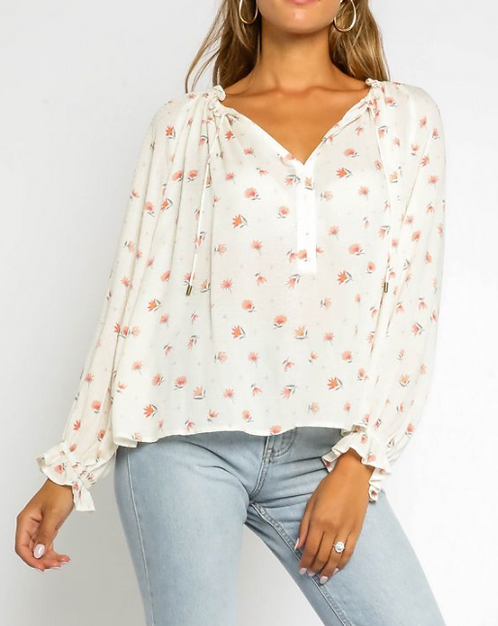 Ruffle Collar Floral Blouse