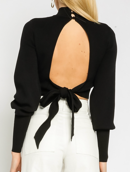 Open Back Cropped Sweater