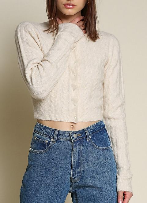 Soft Pearl Button Knit Cardigan - Cream