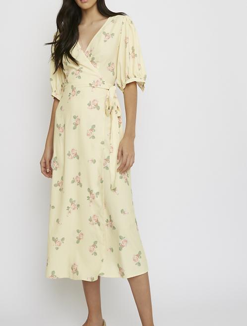 Wrap Front Rose Midi Dress