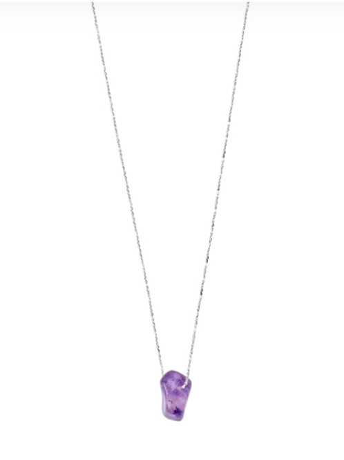 Necklace : Third Eye Chakra : Silver Plated : Amethyst