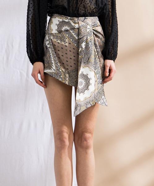 Paisley Print Short Satin Skirt