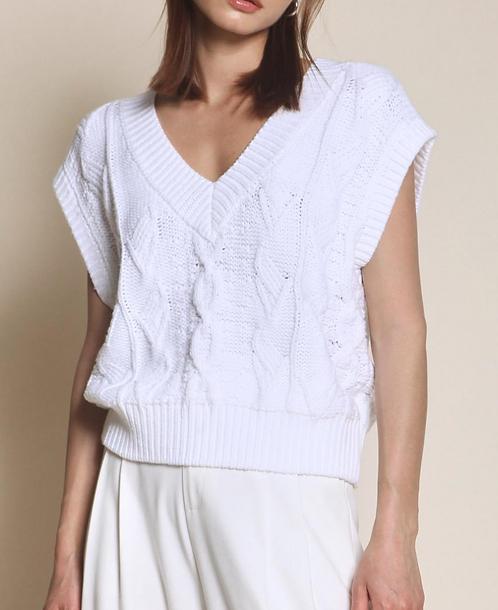 Cable Knit Vest - Off White