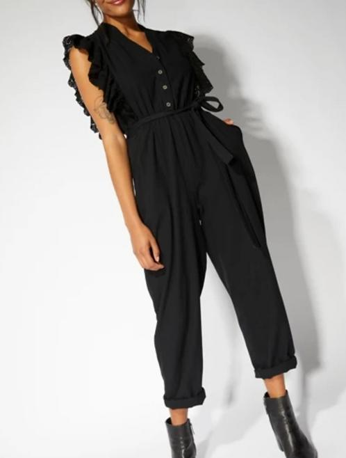 Black Button Up Front Jumpsuit