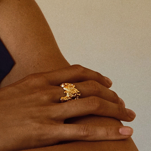 Ring : Feelings of L.A. : Gold Plated : Crystal