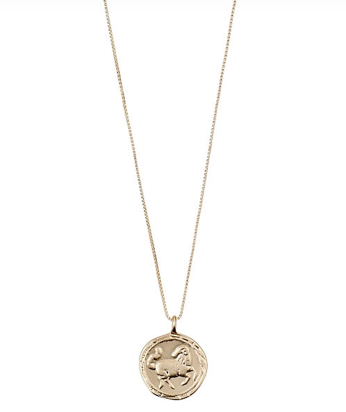 Pilgrim Necklace : Aries Zodiac Sign : Gold Plated : Crystal