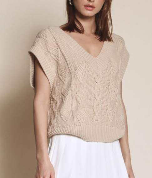 Cable Knit Vest - Beige
