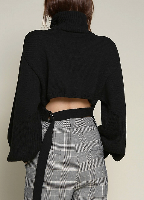 Knit Cut Out Back Turtleneck (2Colors)