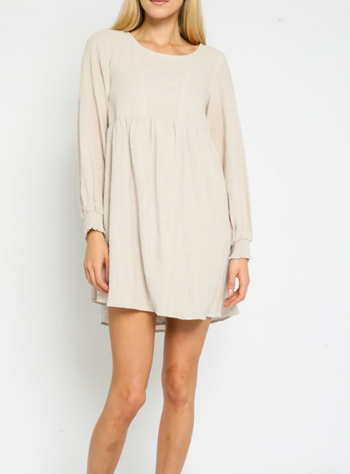 Gauze Long Sleeve Short Dress