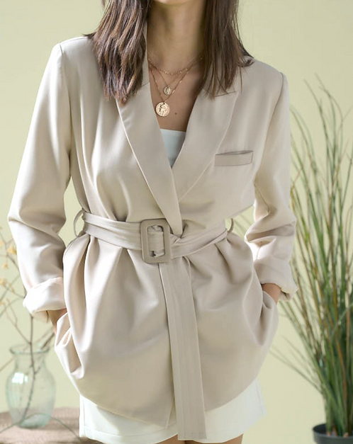 Leather-trimmed Belted Blazer
