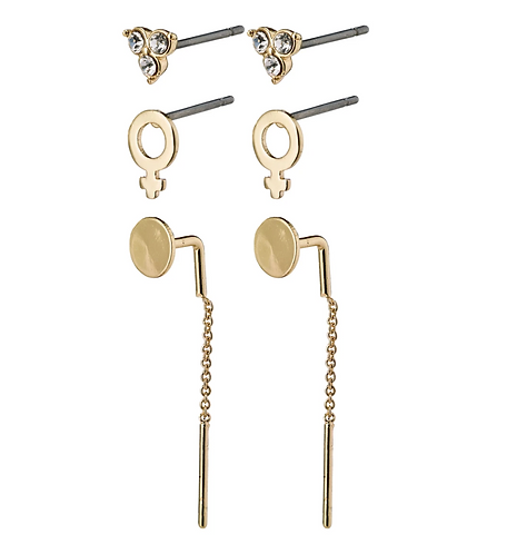 Pilgrim Earrings : Malak : Gold Plated : Crystal