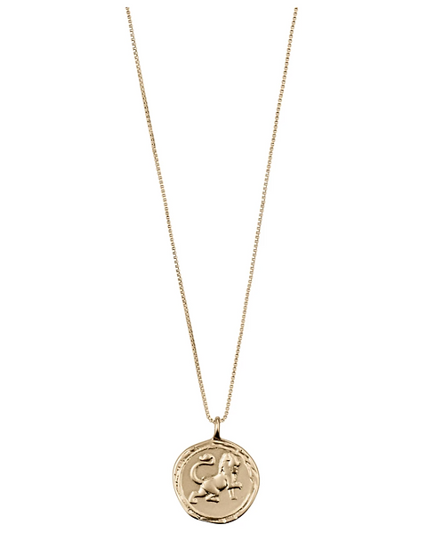 Pilgrim Necklace : Leo Zodiac Sign : Gold Plated : Crystal