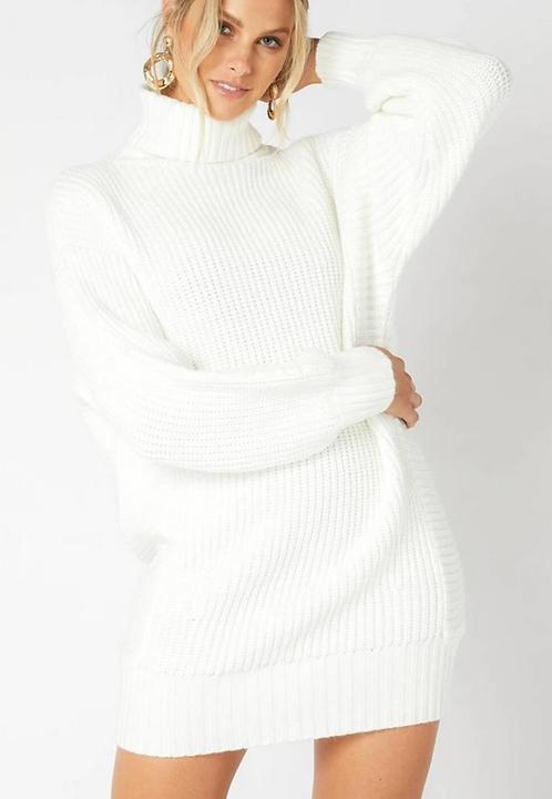 Turtleneck Knit Short Dress -White