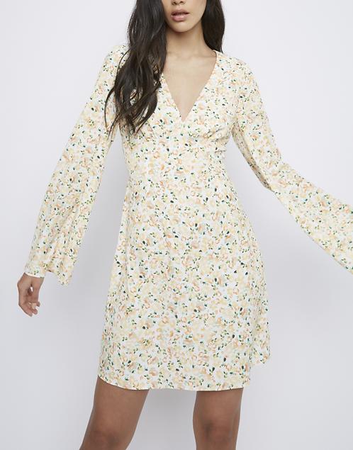 Deep V-neck Open Back Short Dress