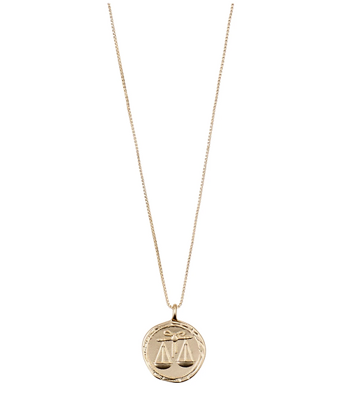 Pilgrim Necklace : Libra Zodiac Sign : Gold Plated : Crystal
