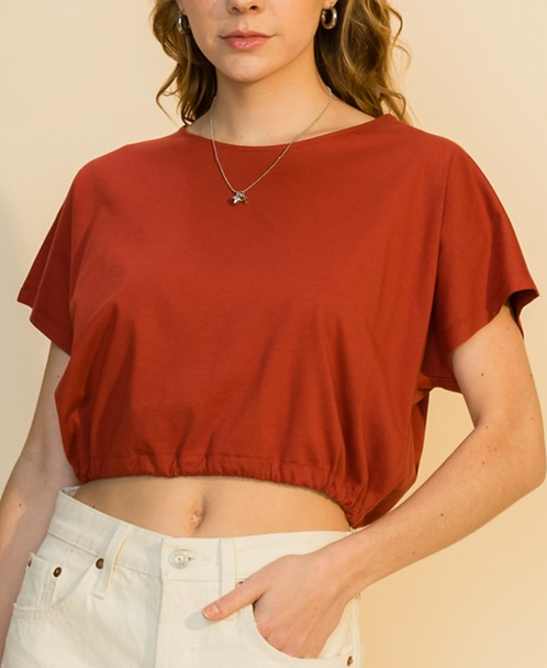 Drawstring Cropped Top (2Colors)