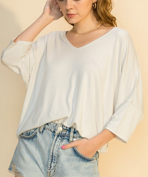 V-neck 3/4 Sleeve Top (3Colors)