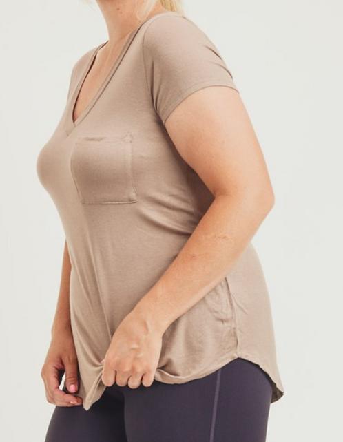 Deep V-Neck Pocket T-shirt (3Colors)