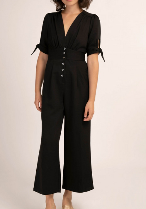 Jumpsuit With Knots On Sleeves