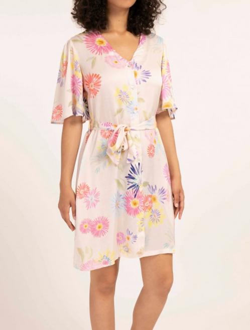 Floral Satin Short Dress