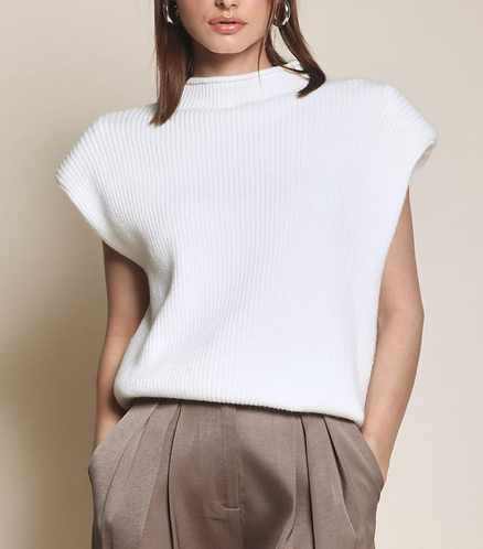 Sweater Vest with Shoulder Pads - Off White