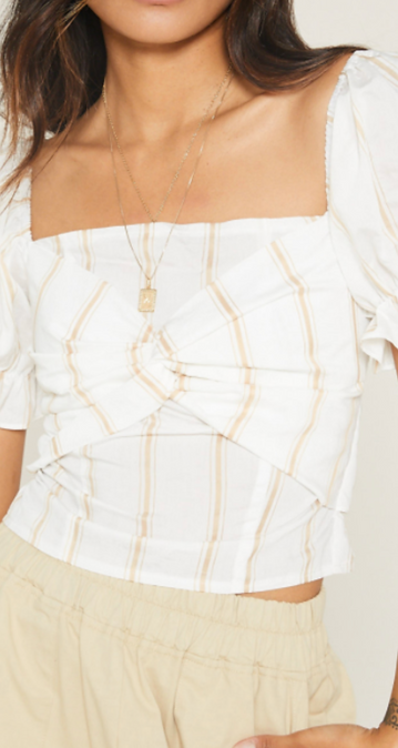Front Twist Striped Blouse