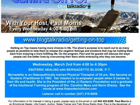 "Bernadette Bloom Featured on Paul Morris's Radio Show ""Getting on Top"""