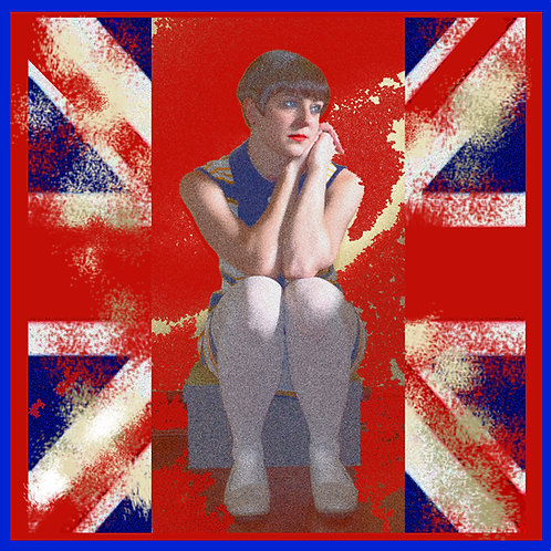 Union Jack Mod Girl Greeting Card. CL108