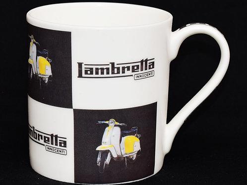 White and Yellow Lambretta Scooter Fine China Mug.